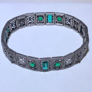 Antique Art Deco Glass Sterling Bracelet